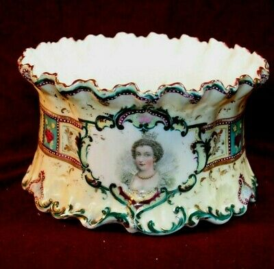 Gorgeous European Console/Tureen Bowl - Portrait of Queen - Cobalt Decoration
