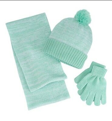 Berkshire Girls Marled 3 Piece 3 Pc Scarf Gloves Hat Set Green One Size 4- 4f86d1439d22
