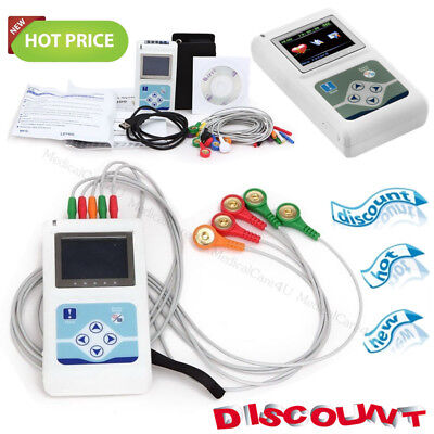 USA Hot,3 Channels ECG Holter Monitor 24Hours Dynamic EKG Recorder Software USB