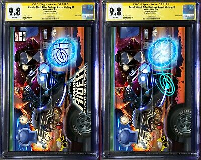 Cosmic Ghost Rider Destroys Marvel History # 1 CGC 9.8 SS 2-Set Signed Greg Horn