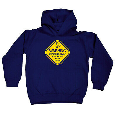 Fishing Kids Childrens Hoodie Hoody Funny - Warning May Spontaneously Start Talk