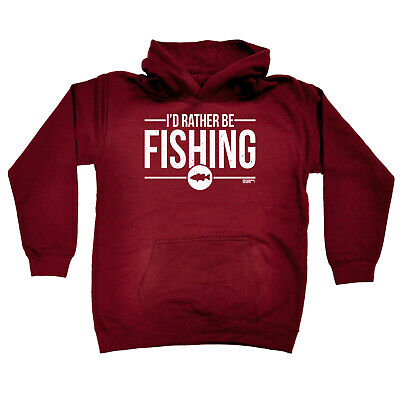 Fishing Kids Childrens Hoodie Hoody Funny - Id Rather Be Fishing