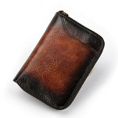 Men's Wallet Real Genuine Leather Credit Card Holder Vintage Case Accordion Bag