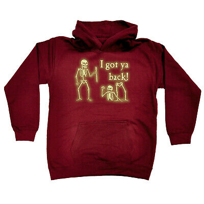 Funny Kids Childrens Hoodie Hoody - Ive Got Your Back Skeletons Glow In The Dark