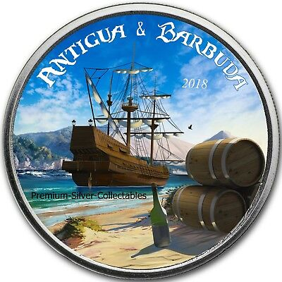 2018 Antigua & Barbuda - 1 Ounce Pure Silver Colorized Rum Runner Coin Series!!
