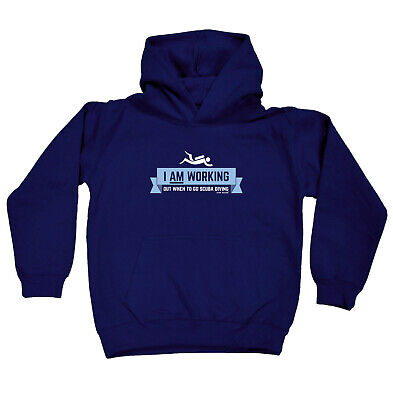 Scuba Diving Kids Childrens Hoodie Hoody Funny - I Am Working Out Scuba Diving