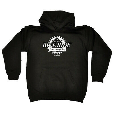 Cycling Kids Childrens Hoodie Hoody Funny - Cycling A Good Bike Ride Fixes Every
