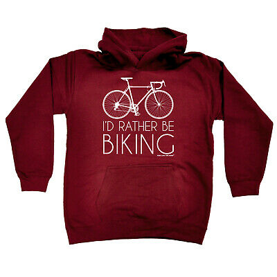 Cycling Kids Childrens Hoodie Hoody Funny - Cycling Id Rather Be Biking