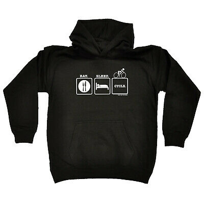 Cycling Kids Childrens Hoodie Hoody Funny - Cycling Eat Sleep Cycle