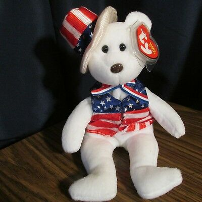 e2398a334bb TY SAM (WHITE) the BEAR BEANIE BABY - MINT with MINT TAGS -  3.95 ...
