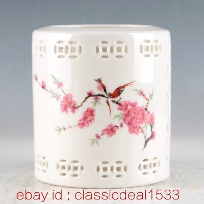 Antique Chinese Porcelain Hand-Painted Magpie & plum Brush Pot MY0167