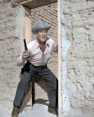 "RANDOLPH SCOTT THE TALL T 1957  HOLLYWOOD ACTOR 8x10"" HAND COLOR TINTED PHOTO"