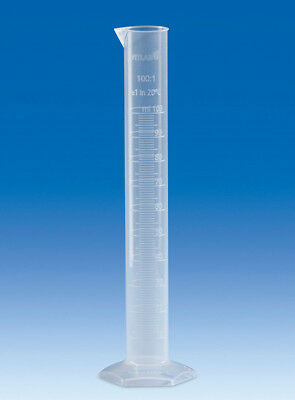 VITLAB Plastic PP Polypropylene 250ml Graduated Measuring Cylinder 650941 # 6 Pc