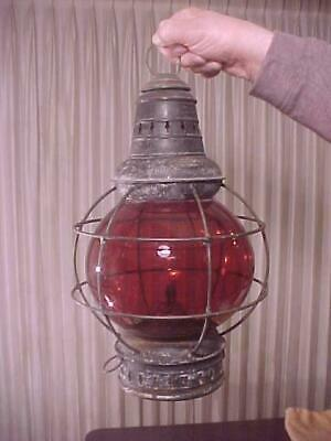 Early Brass Top Large Red Globe Porter Co. Lantern