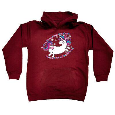 Funny Kids Childrens Hoodie Hoody - They Told Me I Was Delusional Unicorn