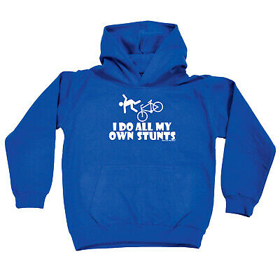 Cycling Kids Childrens Hoodie Hoody Funny - Cycling I Do All My Own Stunts Cycle