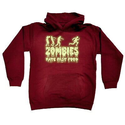 Funny Kids Childrens Hoodie Hoody - Zombies Hate Fast Food