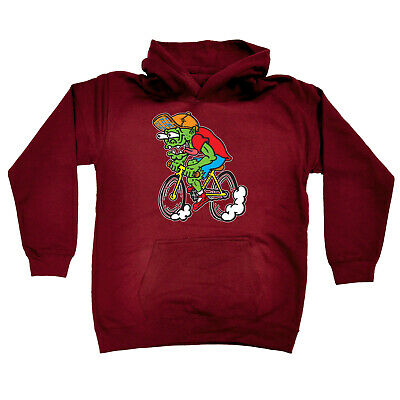 Cycling Kids Childrens Hoodie Hoody Funny - Cycling Weirdo Cyclist Zombie