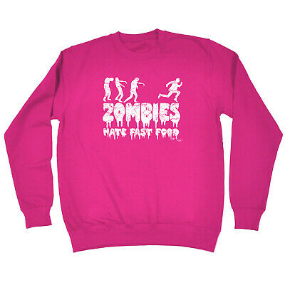 Funny Kids Childrens Sweatshirt Jumper - Zombies Hate Fast Food Glow