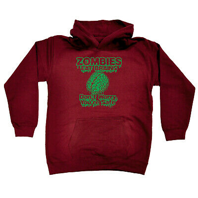 Funny Kids Childrens Hoodie Hoody - Zombies Eat Brains