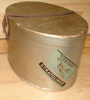 VINTAGE 1940's STETSON STRATOLINER FEDORA HAT BOX w/BOEING AIRPLANE LABEL No Hat