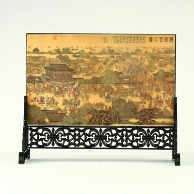 China Lacquerware Handwork Ancient Chinese Market Screen R3002