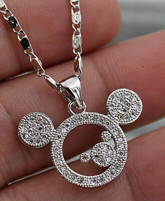 18K White Gold Filled - Mickey Mouse Topaz Zircon Hollow Party Pendant Necklace