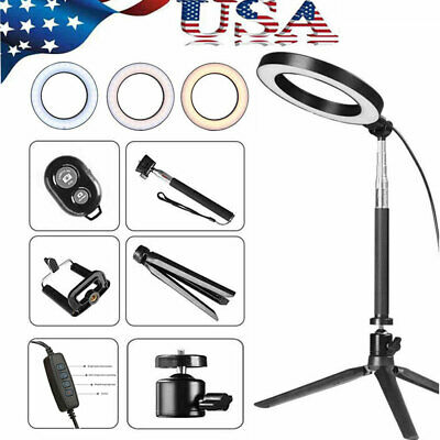"5500K 8"" Dimmable LED Ring Light Kit with Stand for Makeup Phone Camera Selfie"