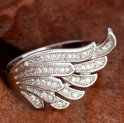 Fashion 925 Silver White Topaz Angel Wing Design Engagement Ring Wholesale 6-10