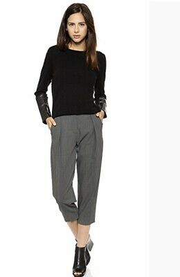NWT Veda Cashmere Lamb Leather Sweater Pullover XS P $330 Black