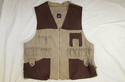 Vtg 50s Red Head Hunting Vest Serval Zipper Cotton W/ Game Pouch 2 Tone Rare