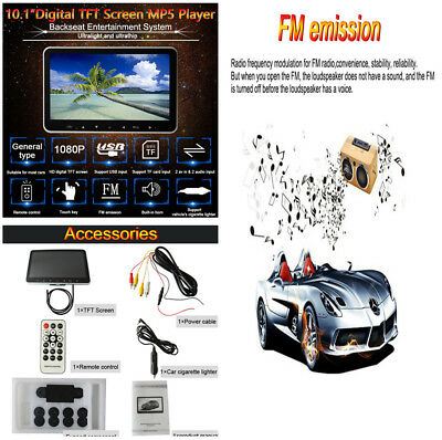 """10.1"""" Touch Car Headset Hi-Fi Stereo Media MP5 Player HD Monitor FM Transmitter"""