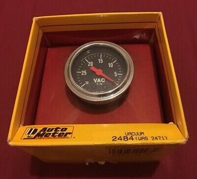 AutoMeter 2484 Traditional Chrome Mechanical Vacuum Gauge Vac Auto Meter