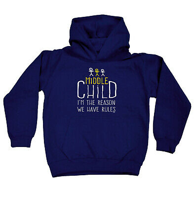 Funny Kids Childrens Hoodie Hoody - Middle Child 3 The Reason We Have Rules