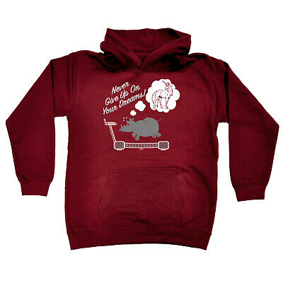 Funny Kids Childrens Hoodie Hoody - Never Give Up On Your Dreams Rhino