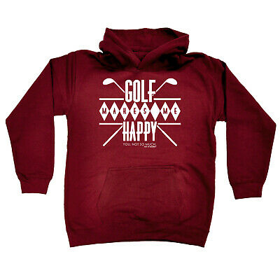 Golfing Kids Childrens Hoodie Hoody Funny - Golf Makes Me Happy