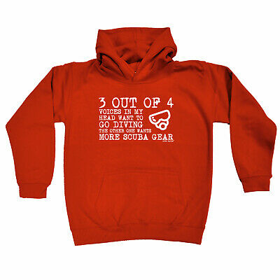 Scuba Diving Kids Childrens Hoodie Hoody Funny - 3 Out Of 4 Voices In My Head Sc