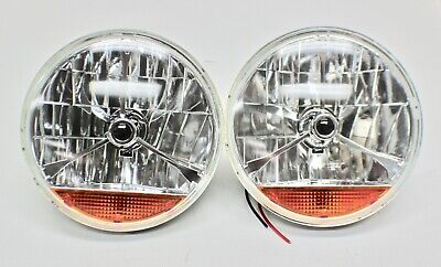 7 Inch H4 Headlights W/ Indicator Lens Pair Semi-Sealed Suit Hot Rod,ford,chev