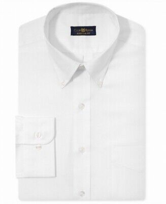 Club Room NEW White Mens Size 17 One Pocket Solid Stretch Dress Shirt $56 302