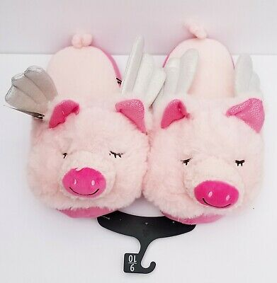 Secret Treasures Women's L(9-10)When Pigs Fly Pink Fuzzy Slippers New With Tags