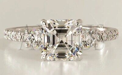 Real 14K Yellow gold 2.66ct Lab created Asscher cut Anniversary Engagement Ring