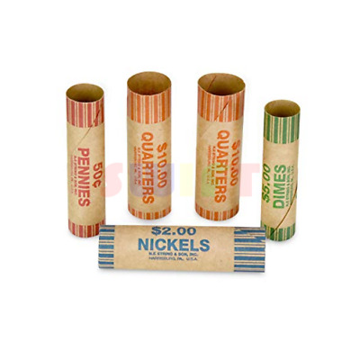 108 Preformed Coin Wrappers Assorted Penny Nickel Dime Quarter Heavy Duty Tubes