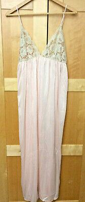 Vintage Long Pink & Off White Lace Nightgown Full Length Lingerie Nylon S