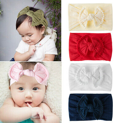 newborn hair band bébé nylon bandeau arc noeud ruban élastique fille turban