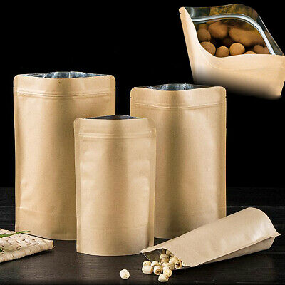 Resealable Kraft Paper Stand Up Pouch Food Aluminium Foil Bag Zip Lock Coffee