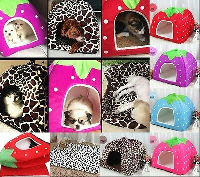 UK Pet Igloo Dog Cat Bed House Kennel Doggy Washable Cotton Cushion Basket Gift