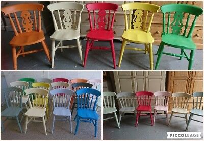 Painted Solid Wood Farmhouse Kitchen Dining Chairs In Different Mix Colours