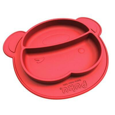 One-Piece Divider Silicone Baby Plate Placemat Feeding Dishe Kids Gift Red Cool