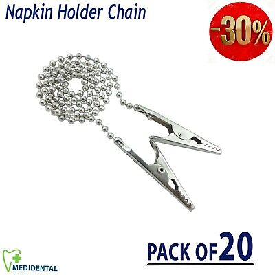 Quality Napkin Holder Flexible Ball Chain Dental Bib Clips Round Neck pack of 20