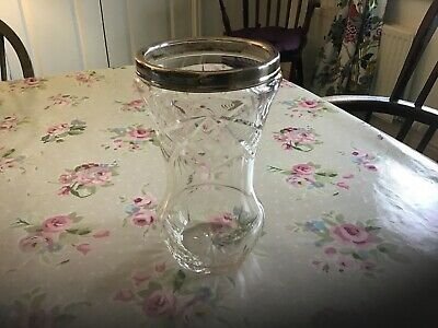 Edwardian Silver Topped Cut Glass Vase